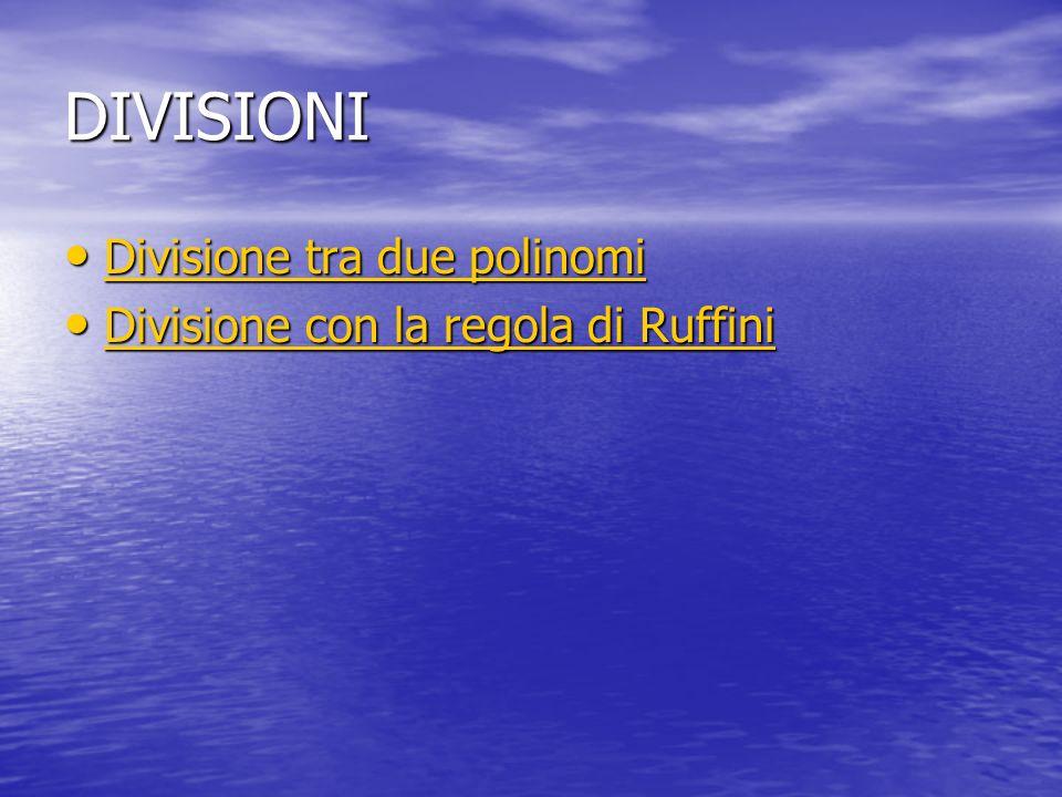 DIVISIONI Divisione tra due polinomi Divisione tra due polinomi Divisione tra due polinomi Divisione tra due polinomi Divisione con la regola di Ruffini Divisione con la regola di Ruffini Divisione con la regola di Ruffini Divisione con la regola di Ruffini