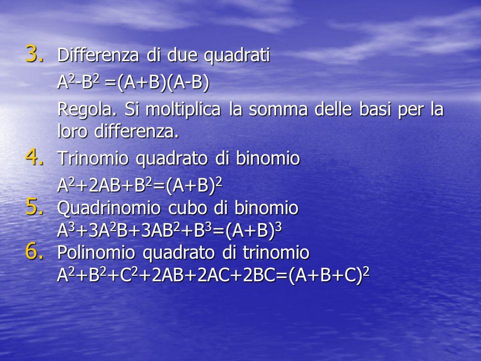 3. Differenza di due quadrati A 2 -B 2 =(A+B)(A-B) Regola. Si moltiplica la somma delle basi per la loro differenza. 4. Trinomio quadrato di binomio A