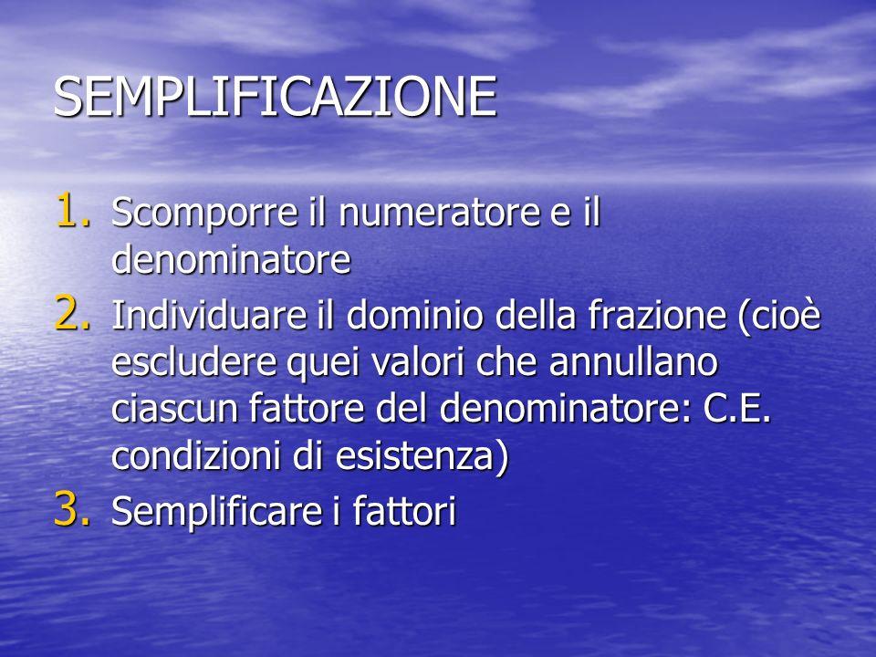 SEMPLIFICAZIONE 1.Scomporre il numeratore e il denominatore 2.