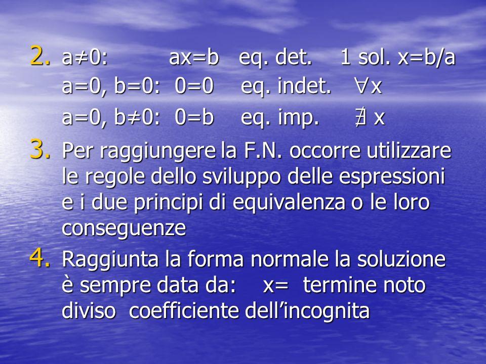 2. a0: ax=b eq. det. 1 sol. x=b/a a=0, b=0: 0=0 eq. indet. x a=0, b0: 0=b eq. imp. x 3. Per raggiungere la F.N. occorre utilizzare le regole dello svi