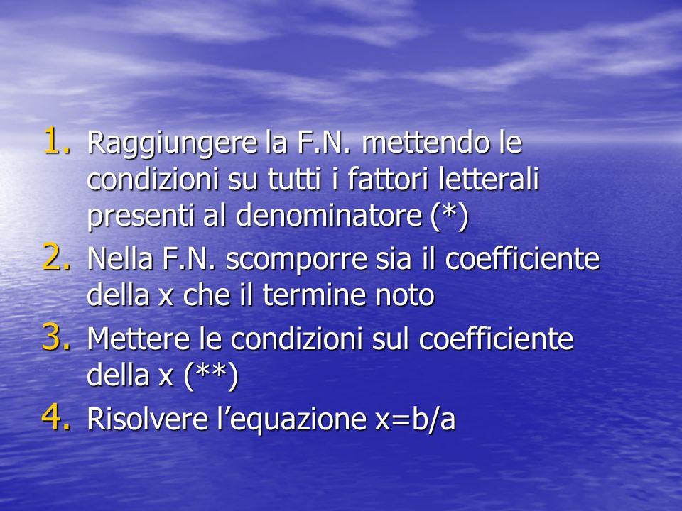 1. Raggiungere la F.N. mettendo le condizioni su tutti i fattori letterali presenti al denominatore (*) 2. Nella F.N. scomporre sia il coefficiente de