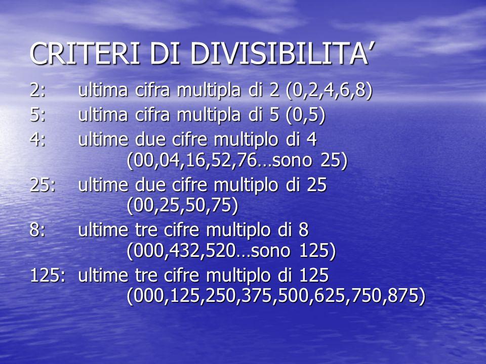 CRITERI DI DIVISIBILITA 2: ultima cifra multipla di 2 (0,2,4,6,8) 5: ultima cifra multipla di 5 (0,5) 4: ultime due cifre multiplo di 4 (00,04,16,52,76…sono 25) 25: ultime due cifre multiplo di 25 (00,25,50,75) 8: ultime tre cifre multiplo di 8 (000,432,520…sono 125) 125: ultime tre cifre multiplo di 125 (000,125,250,375,500,625,750,875)