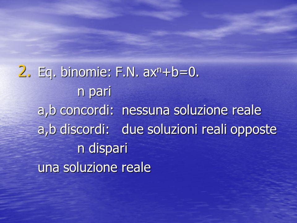 2. Eq. binomie: F.N. ax n +b=0. n pari a,b concordi: nessuna soluzione reale a,b discordi: due soluzioni reali opposte n dispari una soluzione reale