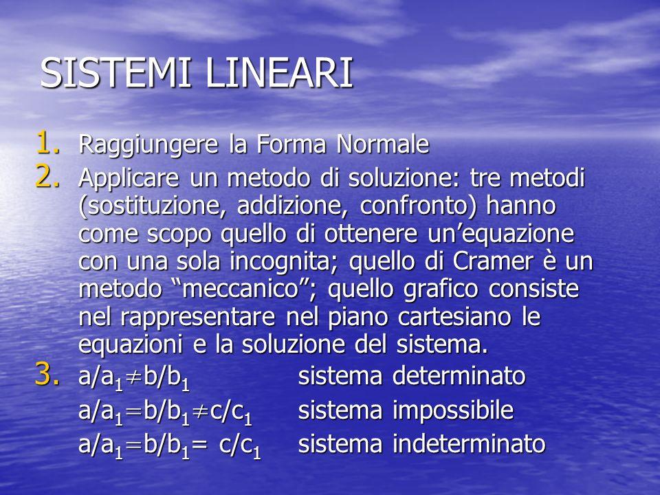 SISTEMI LINEARI 1. Raggiungere la Forma Normale 2. Applicare un metodo di soluzione: tre metodi (sostituzione, addizione, confronto) hanno come scopo