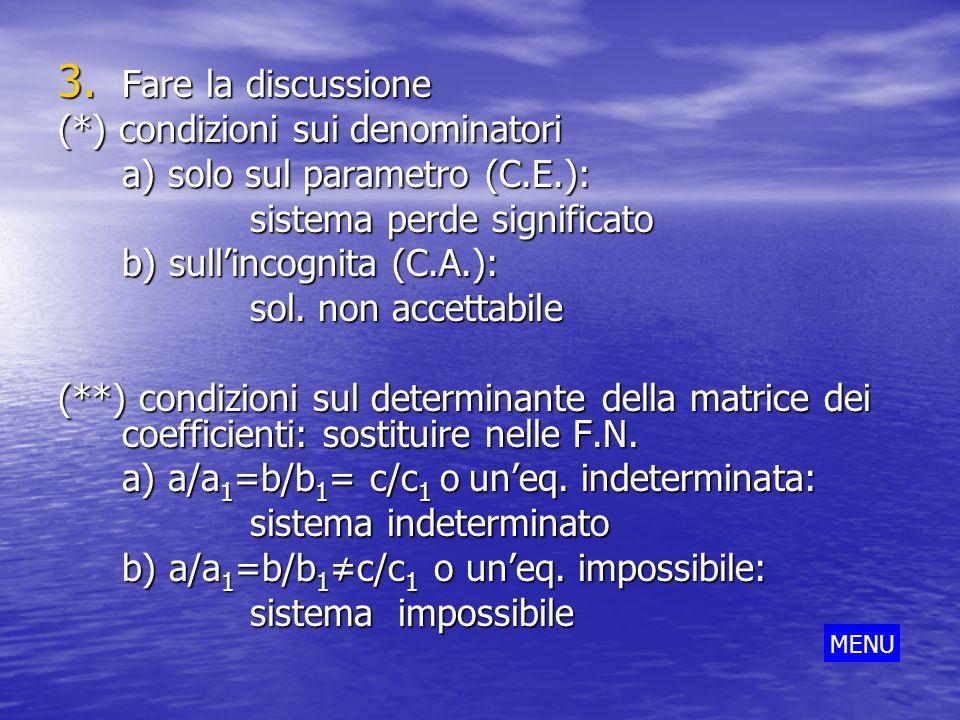 3. Fare la discussione (*) condizioni sui denominatori a) solo sul parametro (C.E.): sistema perde significato b) sullincognita (C.A.): sol. non accet