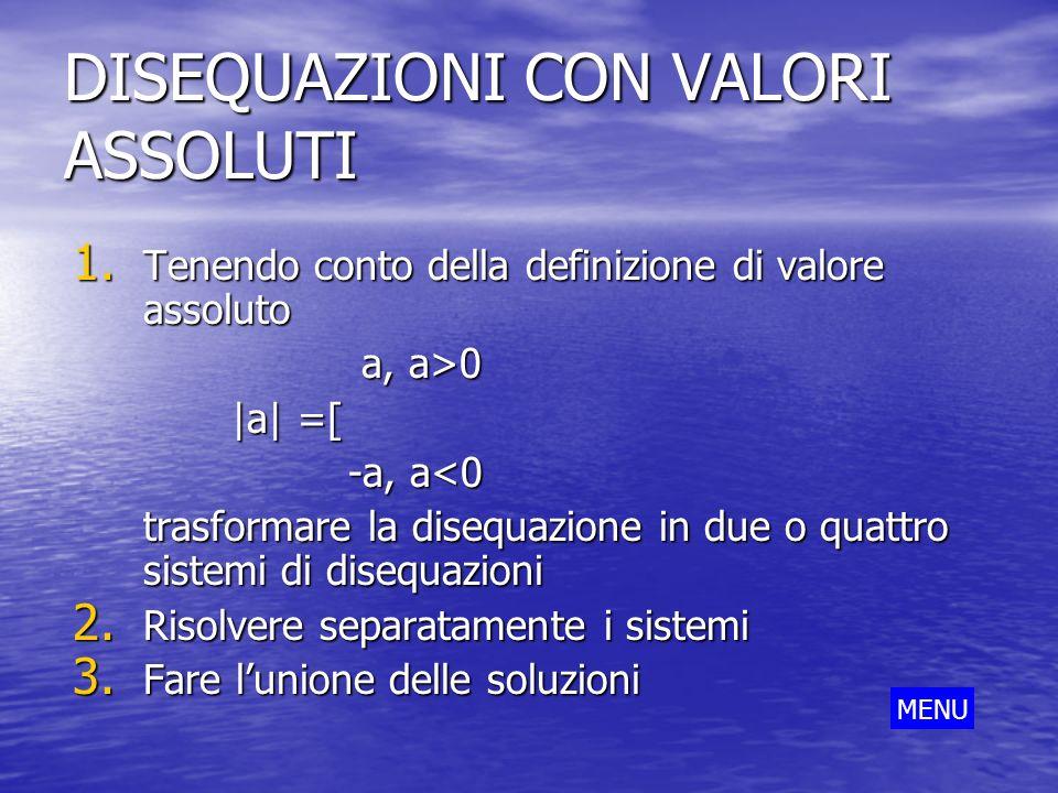 DISEQUAZIONI CON VALORI ASSOLUTI 1. Tenendo conto della definizione di valore assoluto a, a>0 a, a>0 |a| =[ -a, a<0 -a, a<0 trasformare la disequazion