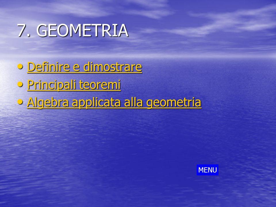 7. GEOMETRIA Definire e dimostrare Definire e dimostrare Definire e dimostrare Definire e dimostrare Principali teoremi Principali teoremi Principali