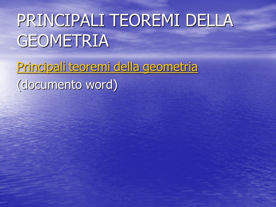 PRINCIPALI TEOREMI DELLA GEOMETRIA Principali teoremi della geometria Principali teoremi della geometria (documento word)