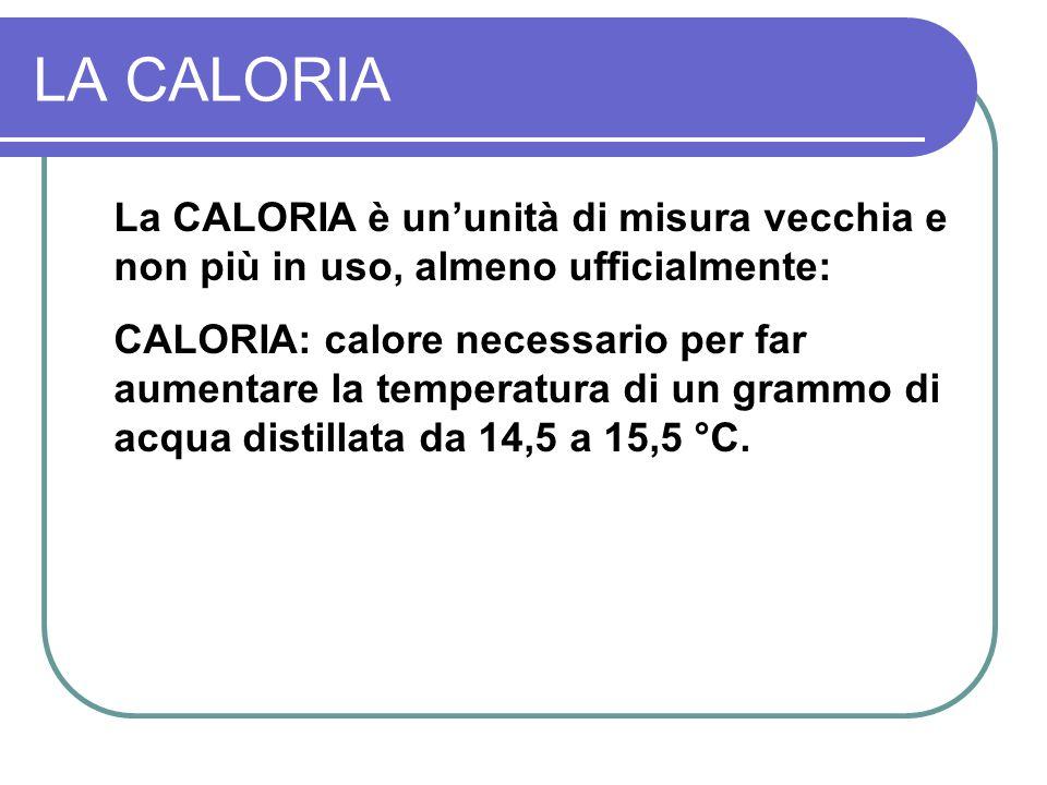 LA CALORIA La CALORIA è ununità di misura vecchia e non più in uso, almeno ufficialmente: CALORIA: calore necessario per far aumentare la temperatura di un grammo di acqua distillata da 14,5 a 15,5 °C.