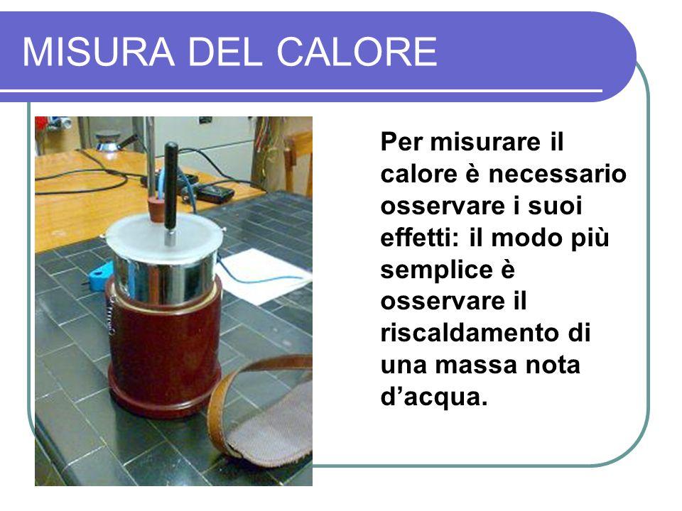 MISURA DEL CALORE Per misurare il calore è necessario osservare i suoi effetti: il modo più semplice è osservare il riscaldamento di una massa nota dacqua.