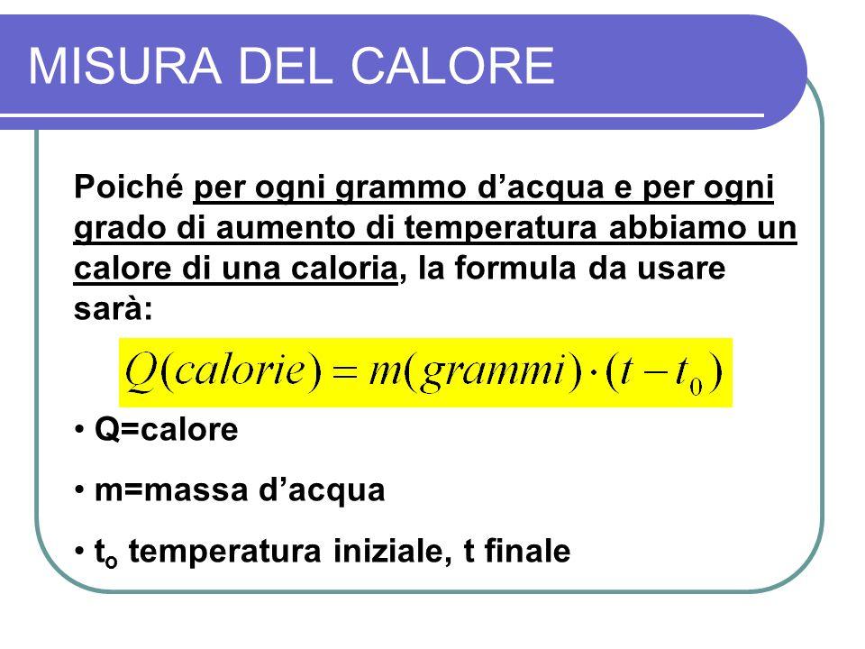 MISURA DEL CALORE Poiché per ogni grammo dacqua e per ogni grado di aumento di temperatura abbiamo un calore di una caloria, la formula da usare sarà: Q=calore m=massa dacqua t o temperatura iniziale, t finale