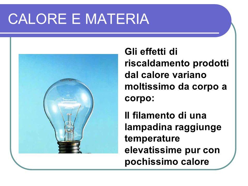 CALORE E MATERIA Gli effetti di riscaldamento prodotti dal calore variano moltissimo da corpo a corpo: Il filamento di una lampadina raggiunge temperature elevatissime pur con pochissimo calore