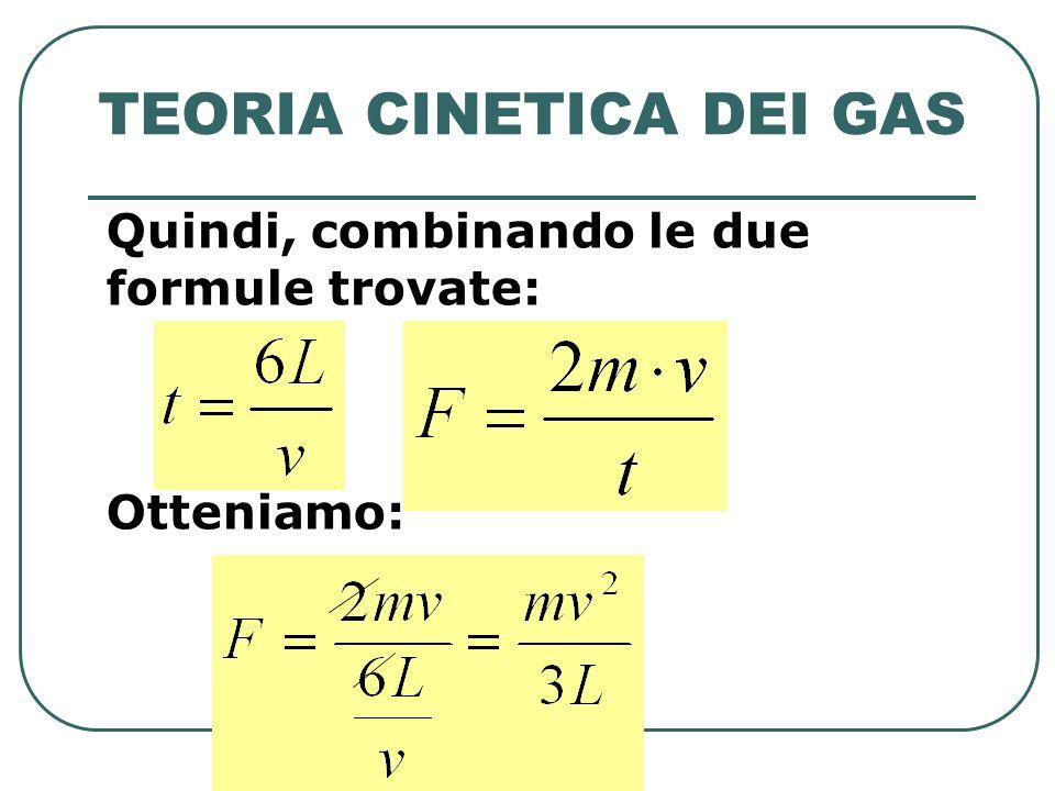 TEORIA CINETICA DEI GAS Quindi, combinando le due formule trovate: Otteniamo: