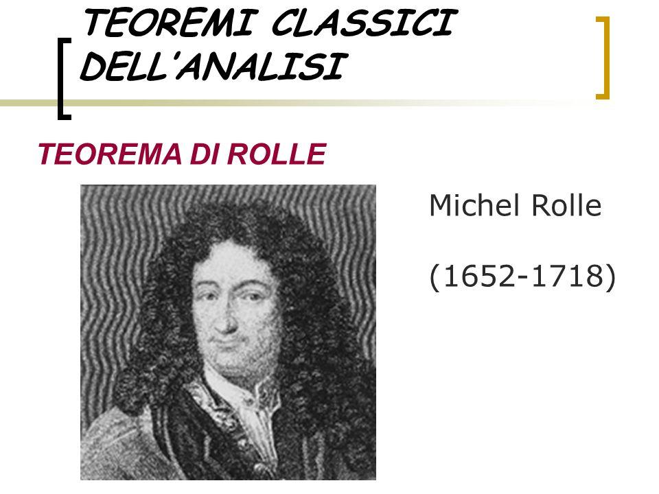 TEOREMI CLASSICI DELLANALISI TEOREMA DI ROLLE Michel Rolle (1652-1718)