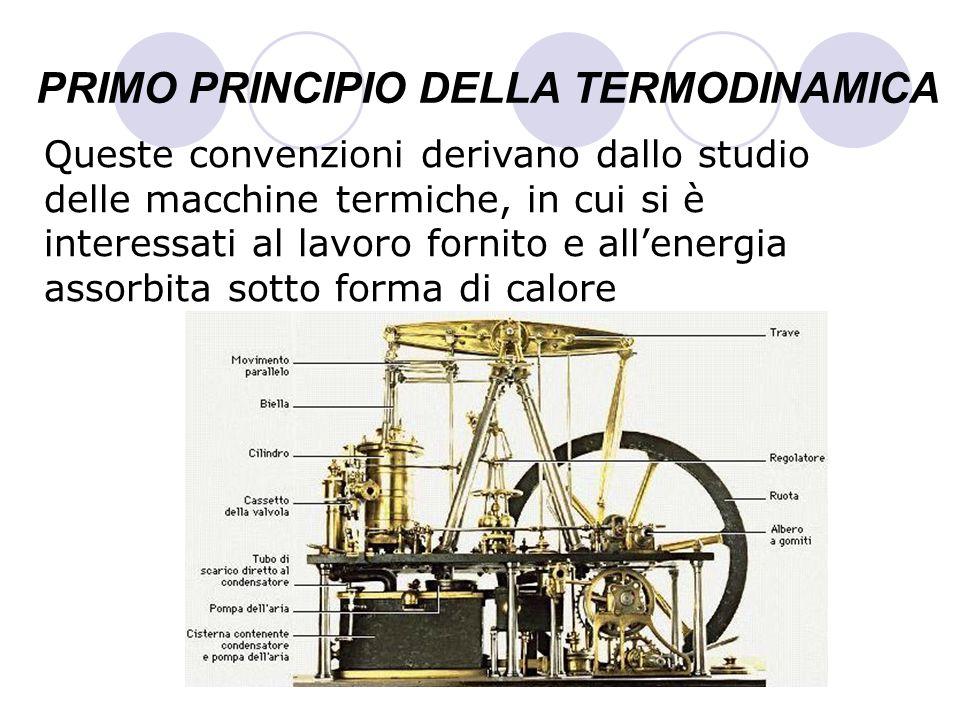 PRIMO PRINCIPIO DELLA TERMODINAMICA Queste convenzioni derivano dallo studio delle macchine termiche, in cui si è interessati al lavoro fornito e alle