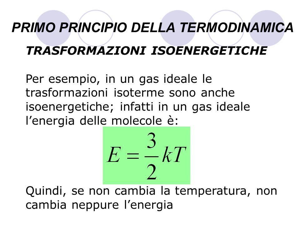PRIMO PRINCIPIO DELLA TERMODINAMICA TRASFORMAZIONI ISOENERGETICHE Per esempio, in un gas ideale le trasformazioni isoterme sono anche isoenergetiche;