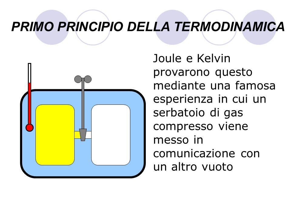 PRIMO PRINCIPIO DELLA TERMODINAMICA Joule e Kelvin provarono questo mediante una famosa esperienza in cui un serbatoio di gas compresso viene messo in