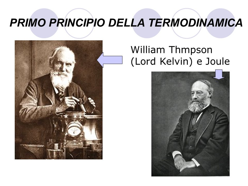 PRIMO PRINCIPIO DELLA TERMODINAMICA William Thmpson (Lord Kelvin) e Joule