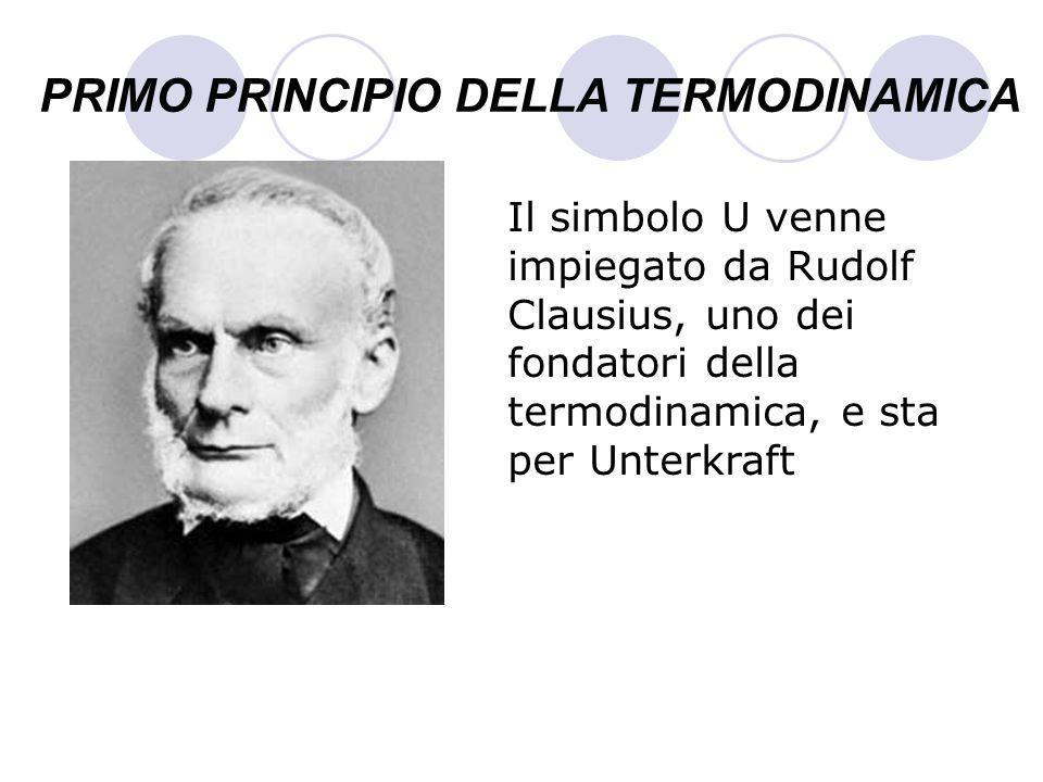 PRIMO PRINCIPIO DELLA TERMODINAMICA Il simbolo U venne impiegato da Rudolf Clausius, uno dei fondatori della termodinamica, e sta per Unterkraft