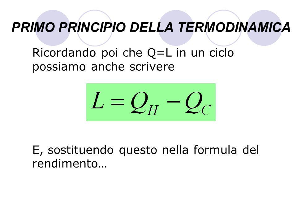 PRIMO PRINCIPIO DELLA TERMODINAMICA Ricordando poi che Q=L in un ciclo possiamo anche scrivere E, sostituendo questo nella formula del rendimento…