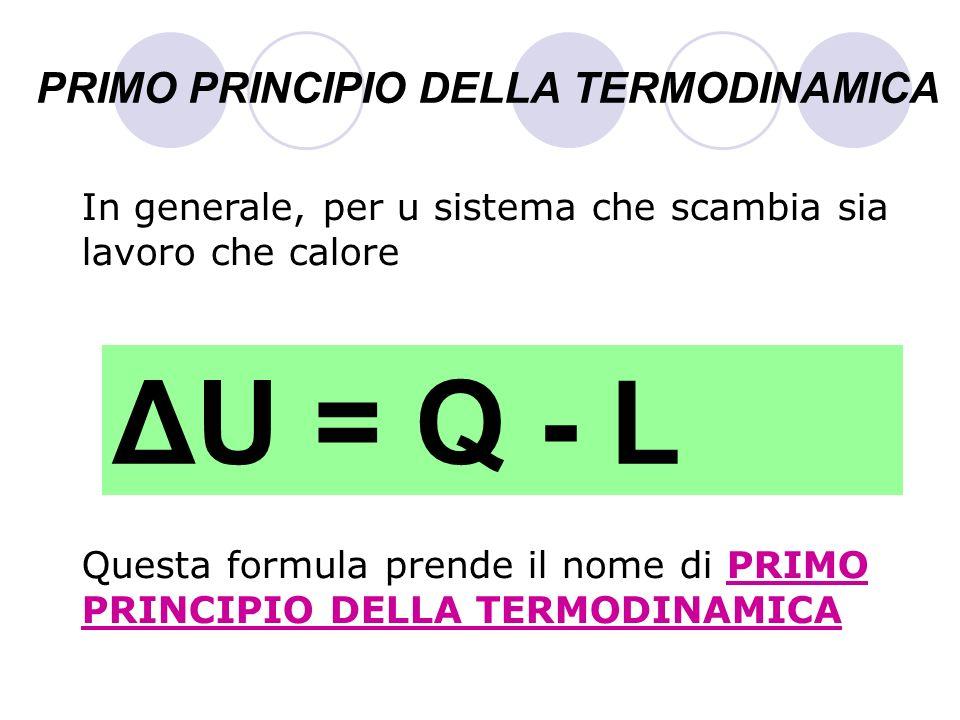 PRIMO PRINCIPIO DELLA TERMODINAMICA In generale, per u sistema che scambia sia lavoro che calore Questa formula prende il nome di PRIMO PRINCIPIO DELL