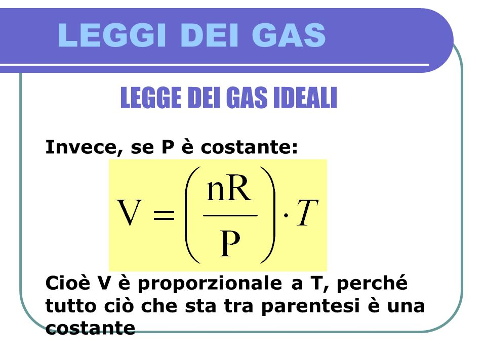 LEGGI DEI GAS LEGGE DEI GAS IDEALI Invece, se P è costante: Cioè V è proporzionale a T, perché tutto ciò che sta tra parentesi è una costante