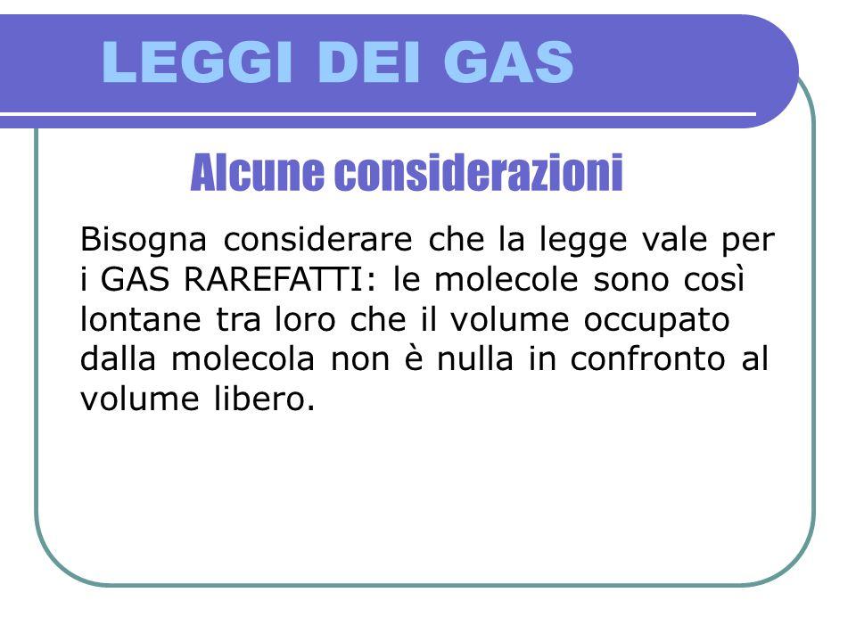 LEGGI DEI GAS Alcune considerazioni Bisogna considerare che la legge vale per i GAS RAREFATTI: le molecole sono così lontane tra loro che il volume oc
