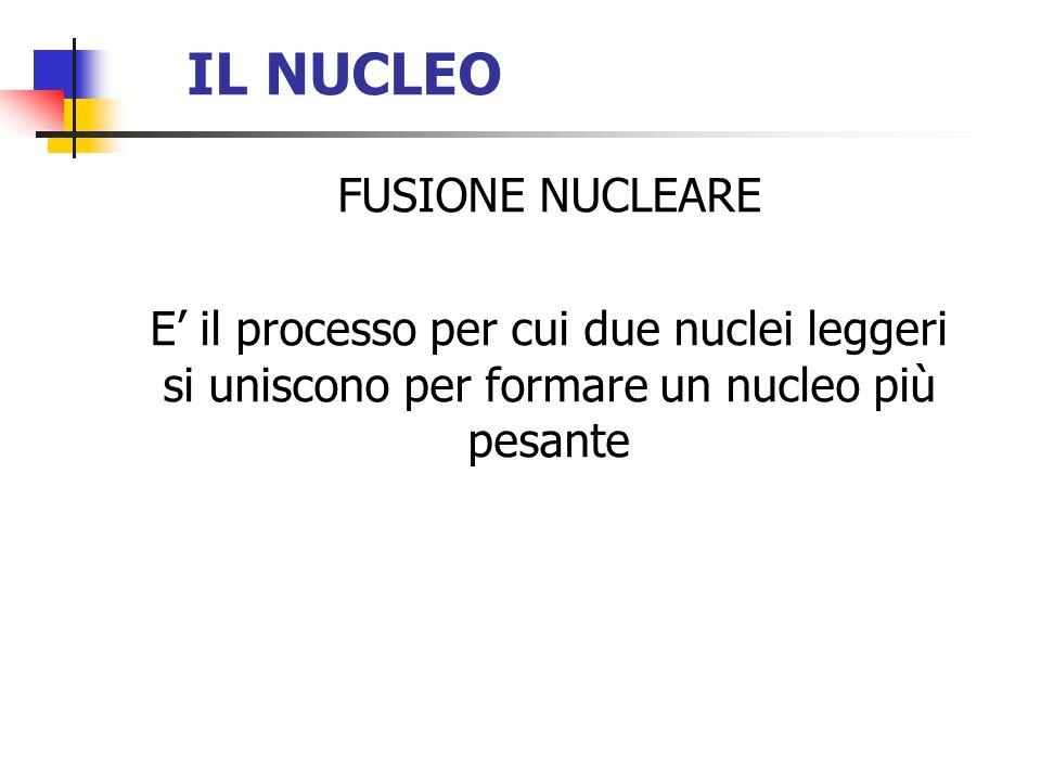 IL NUCLEO FUSIONE NUCLEARE E il processo per cui due nuclei leggeri si uniscono per formare un nucleo più pesante
