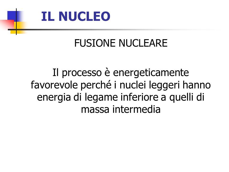 IL NUCLEO FUSIONE NUCLEARE Il processo è energeticamente favorevole perché i nuclei leggeri hanno energia di legame inferiore a quelli di massa interm