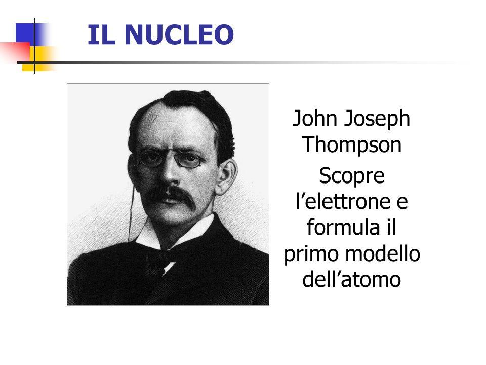 IL NUCLEO John Joseph Thompson Scopre lelettrone e formula il primo modello dellatomo