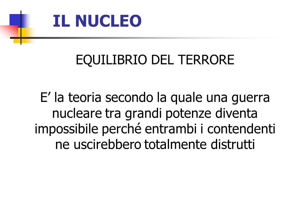 IL NUCLEO EQUILIBRIO DEL TERRORE E la teoria secondo la quale una guerra nucleare tra grandi potenze diventa impossibile perché entrambi i contendenti