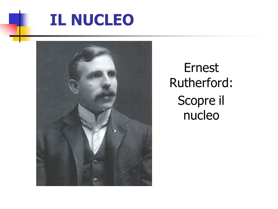 IL NUCLEO Ernest Rutherford: Scopre il nucleo