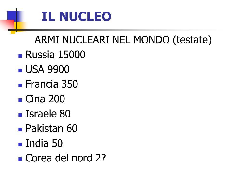 IL NUCLEO ARMI NUCLEARI NEL MONDO (testate) Russia 15000 USA 9900 Francia 350 Cina 200 Israele 80 Pakistan 60 India 50 Corea del nord 2?