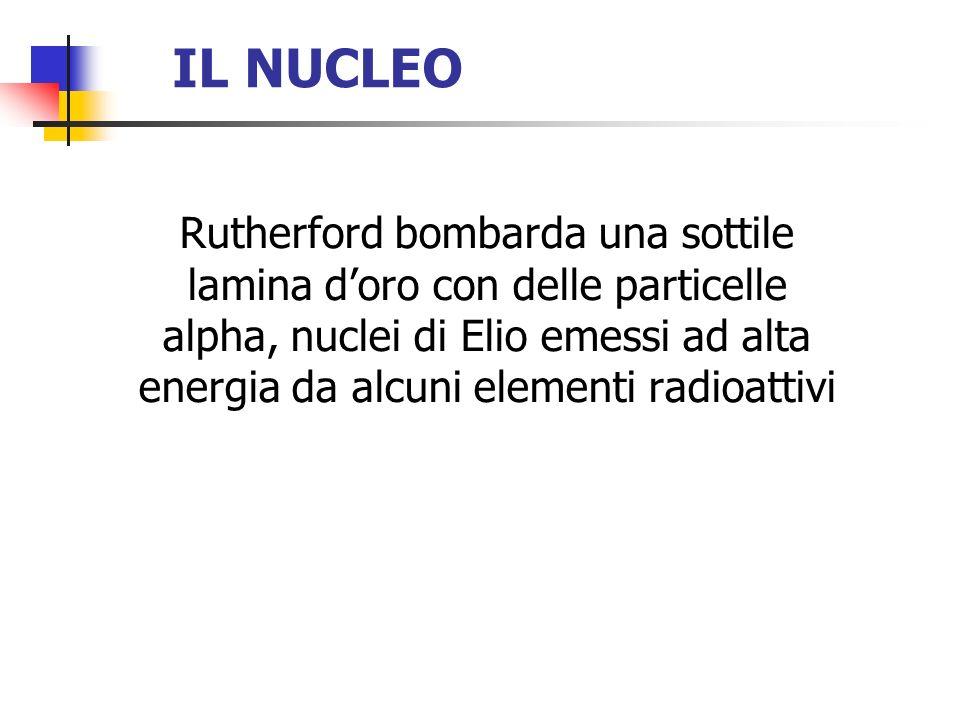IL NUCLEO Rutherford bombarda una sottile lamina doro con delle particelle alpha, nuclei di Elio emessi ad alta energia da alcuni elementi radioattivi