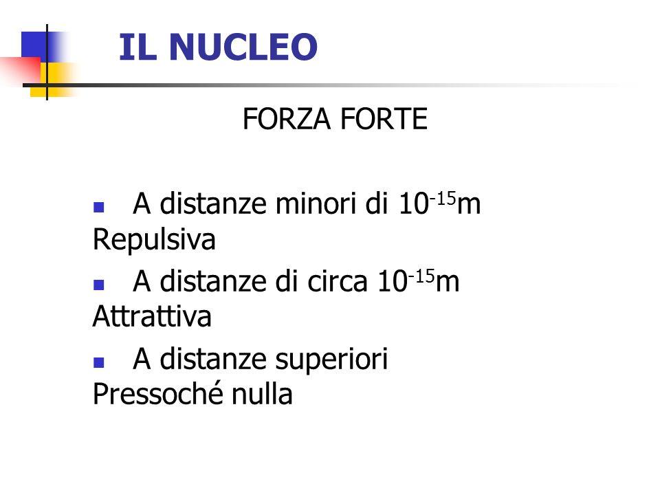 IL NUCLEO FORZA FORTE A distanze minori di 10 -15 m Repulsiva A distanze di circa 10 -15 m Attrattiva A distanze superiori Pressoché nulla
