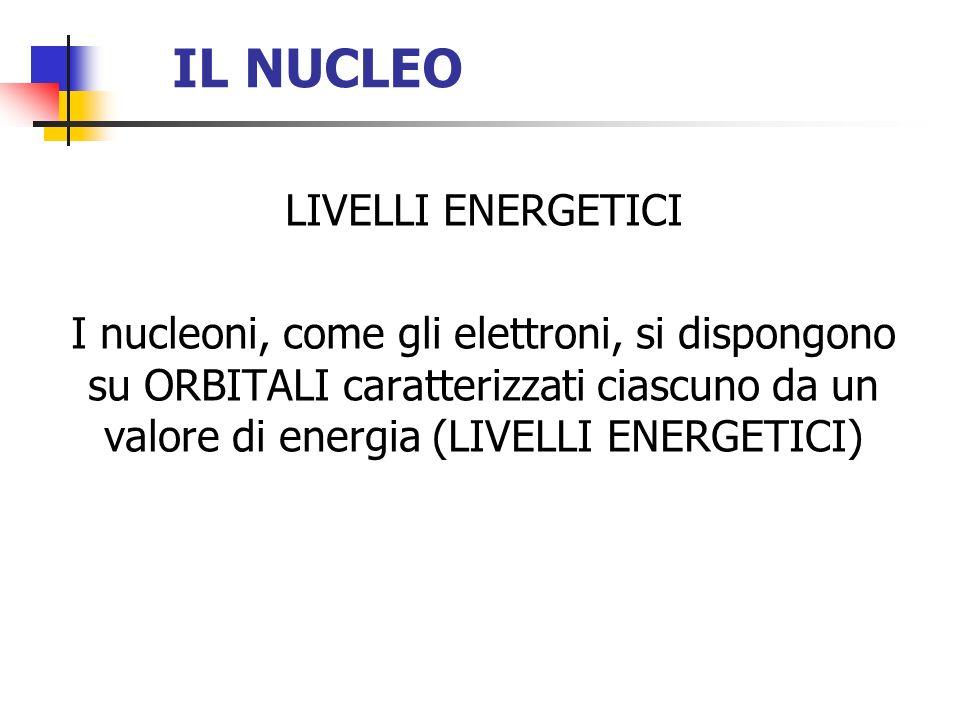 IL NUCLEO LIVELLI ENERGETICI I nucleoni, come gli elettroni, si dispongono su ORBITALI caratterizzati ciascuno da un valore di energia (LIVELLI ENERGE