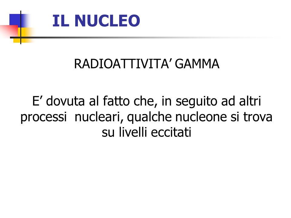 IL NUCLEO RADIOATTIVITA GAMMA E dovuta al fatto che, in seguito ad altri processi nucleari, qualche nucleone si trova su livelli eccitati