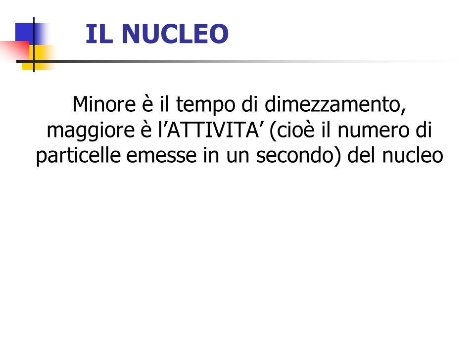 IL NUCLEO Minore è il tempo di dimezzamento, maggiore è lATTIVITA (cioè il numero di particelle emesse in un secondo) del nucleo