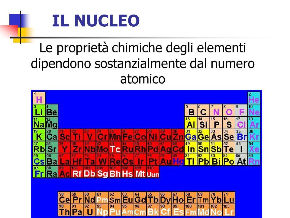 IL NUCLEO Le proprietà chimiche degli elementi dipendono sostanzialmente dal numero atomico