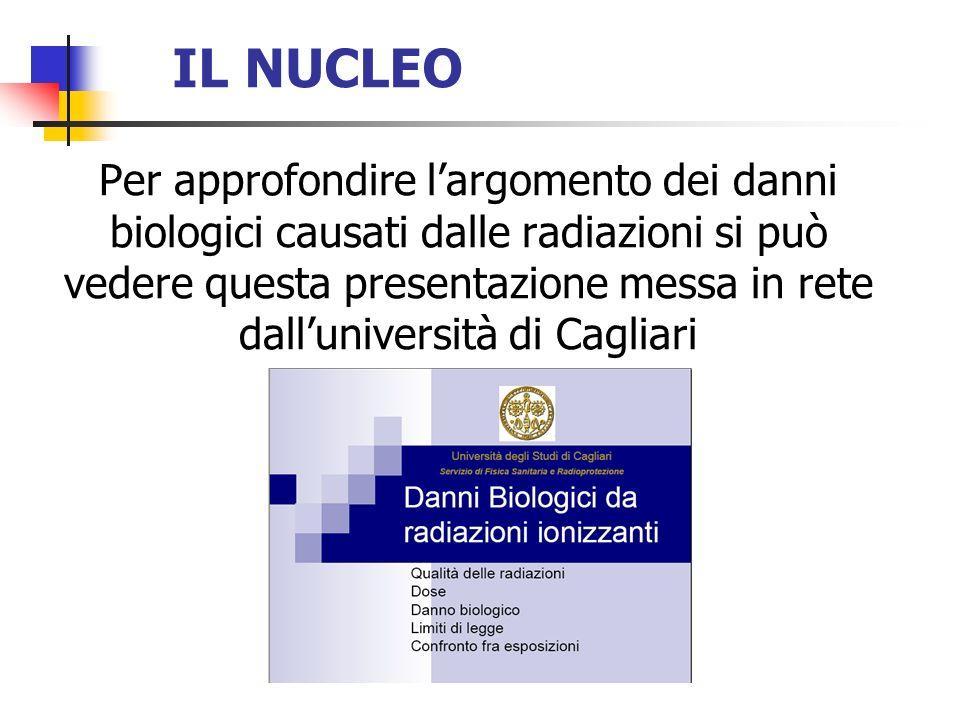 Per approfondire largomento dei danni biologici causati dalle radiazioni si può vedere questa presentazione messa in rete dalluniversità di Cagliari
