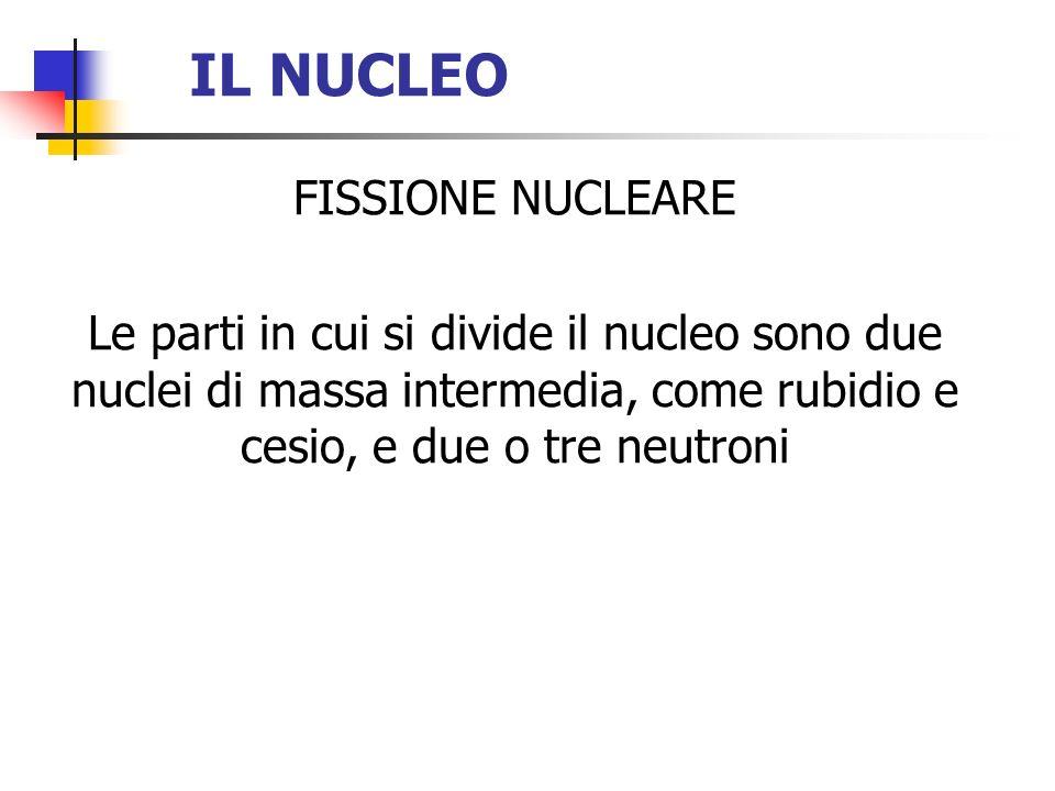 IL NUCLEO FISSIONE NUCLEARE Le parti in cui si divide il nucleo sono due nuclei di massa intermedia, come rubidio e cesio, e due o tre neutroni