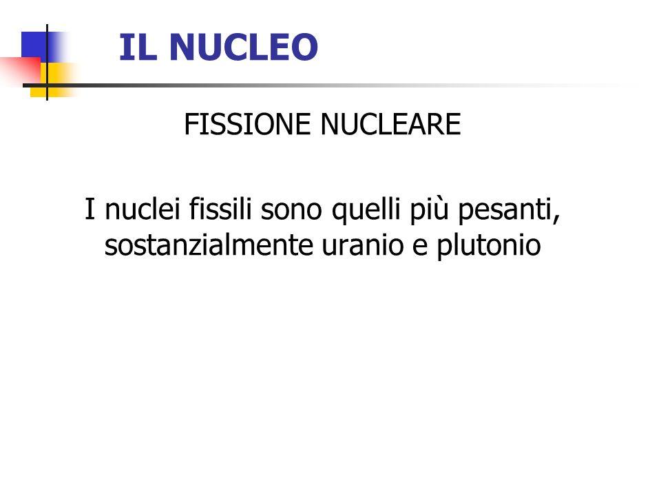 IL NUCLEO FISSIONE NUCLEARE I nuclei fissili sono quelli più pesanti, sostanzialmente uranio e plutonio