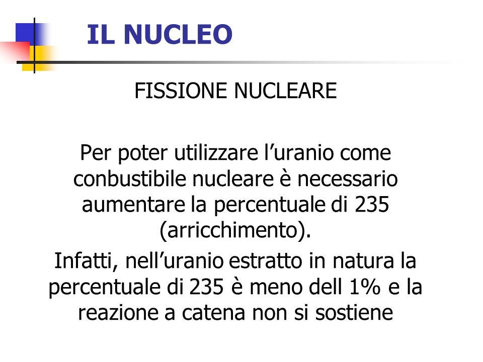 IL NUCLEO FISSIONE NUCLEARE Per poter utilizzare luranio come conbustibile nucleare è necessario aumentare la percentuale di 235 (arricchimento). Infa