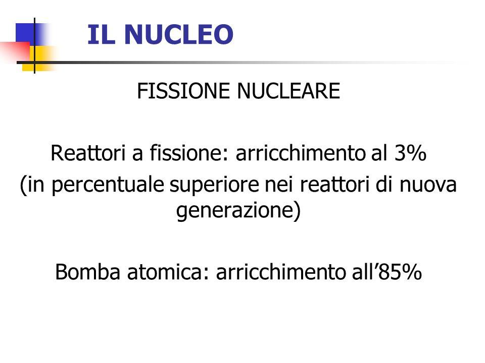 IL NUCLEO FISSIONE NUCLEARE Reattori a fissione: arricchimento al 3% (in percentuale superiore nei reattori di nuova generazione) Bomba atomica: arric