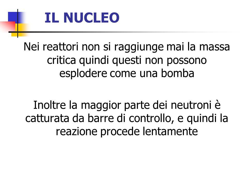 IL NUCLEO Nei reattori non si raggiunge mai la massa critica quindi questi non possono esplodere come una bomba Inoltre la maggior parte dei neutroni
