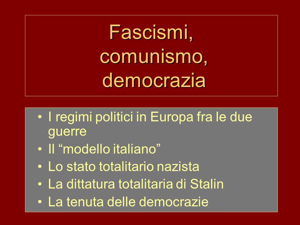 Fascismi, comunismo, democrazia I regimi politici in Europa fra le due guerre Il modello italiano Lo stato totalitario nazista La dittatura totalitaria di Stalin La tenuta delle democrazie