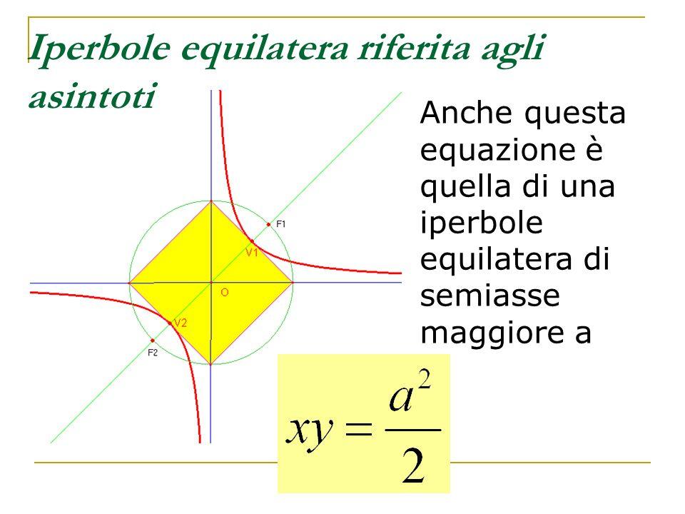 Iperbole equilatera riferita agli asintoti Anche questa equazione è quella di una iperbole equilatera di semiasse maggiore a