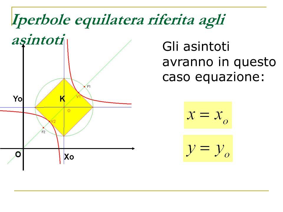 Iperbole equilatera riferita agli asintoti Gli asintoti avranno in questo caso equazione: KYo Xo O