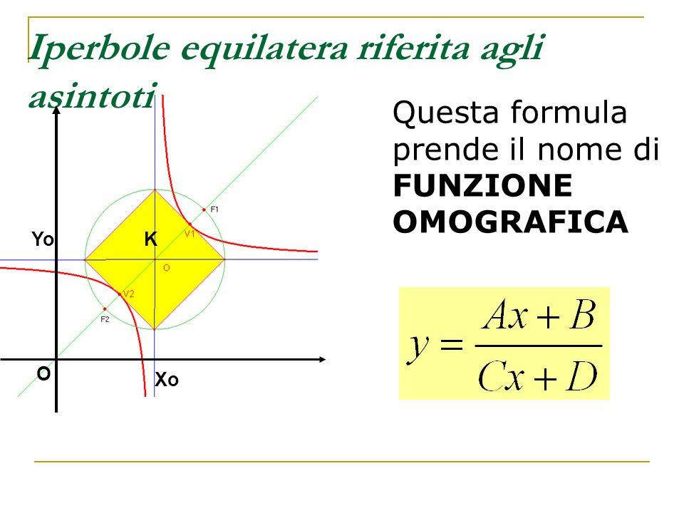 Iperbole equilatera riferita agli asintoti Questa formula prende il nome di FUNZIONE OMOGRAFICA KYo Xo O
