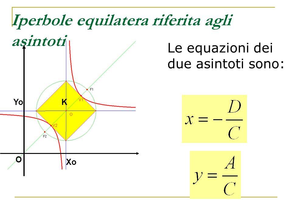 Iperbole equilatera riferita agli asintoti Le equazioni dei due asintoti sono: KYo Xo O
